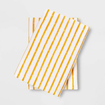 Standard Easy Care Printed Pillowcase Set Gold Stripe - Room Essentials™