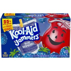 Kool-Aid Jammers Blue Raspberry Juice Drinks - 10pk/6 fl oz Pouches