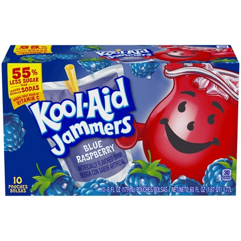Kool-Aid Jammers Blue Raspberry Juice Drinks - 10pk/6 fl oz Pouches - image 1 of 6