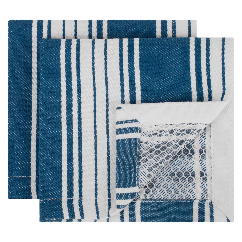 Striped Dish Cloth Blue Set of 2 - Mu Kitchen, Blue Jay