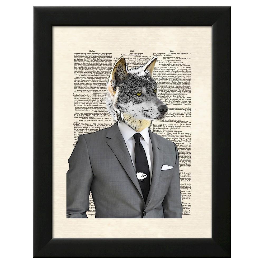 Wolf Of Wall Street Black Wood Framed Art Print, Silver