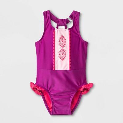 Baby Girls' High Neck One Piece Swimsuit - Cat & Jack™ Purple 9M