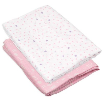 Honest Baby Organic Cotton Swaddle Blanket - Love Dot 2pk
