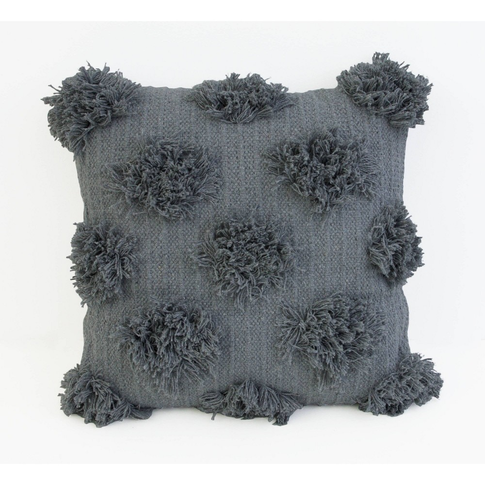 "Image of ""18""""x18"""" Barrio Shaggy Dots Fringe Pillow Charcoal - Decor Therapy"""