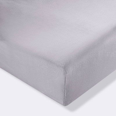Plush Fitted Crib Sheet Solid - Cloud Island™ Gray