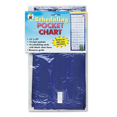 "Carson-Dellosa Scheduling Pocket Chart Pockets 12-1/4""x1"" 13""x33"" Blue CD5615"