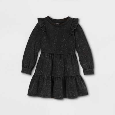Toddler Girls' French Terry Tiered Long Sleeve Dress - art class™ Black