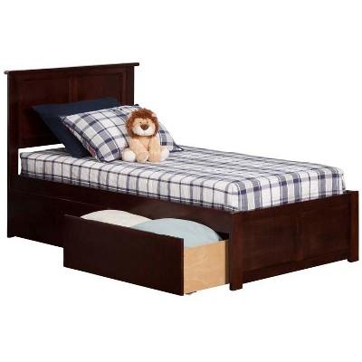 Madison Twin Flat Panel Foot Board w/ 2 Urban Bed Drawers Antique Walnut - Atlantic Furniture