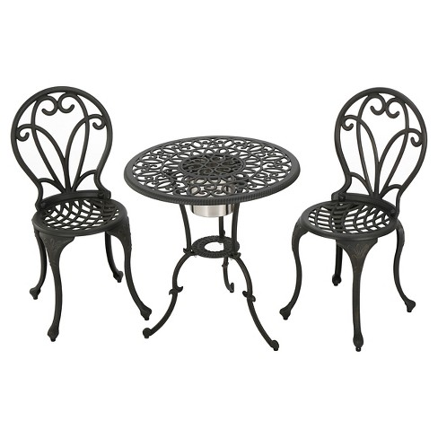 Thomas 3pc Cast Aluminum Bistro Set - Black - Christopher Knight Home - image 1 of 4