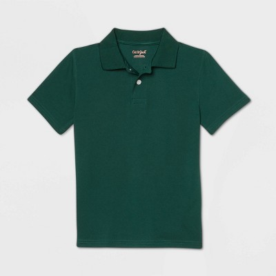 Boys' Short Sleeve Performance Uniform Polo Shirt - Cat & Jack™ Dark Green