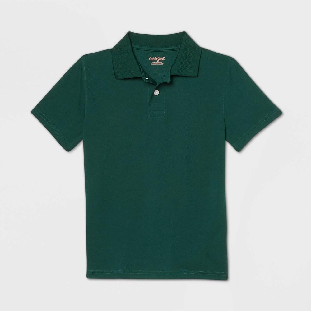 Boys Short Sleeve Performance Uniform Polo Shirt - Cat & Jack Dark Green L