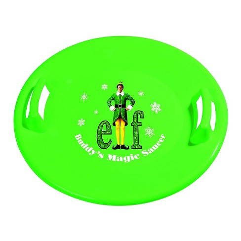 Slippery Racer Downhill Pro Buddy The Elf Adults and Kids Plastic Saucer Disc Snow Sled with Handles, Green - image 1 of 3
