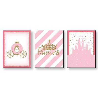 Big Dot of Happiness Little Princess Crown - Castle Nursery Wall Art and Kids Room Decorations - Gift Ideas - 7.5 x 10 inches - Set of 3 Prints