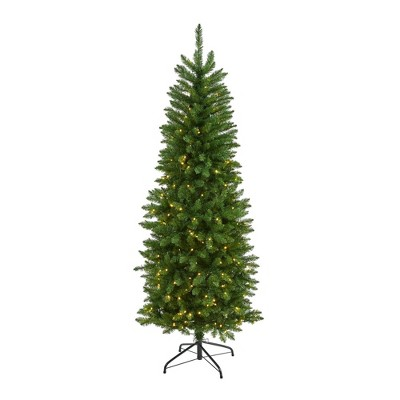 6ft Nearly Natural Pre-Lit LED Mountain Pine Artificial Christmas Tree Clear Lights