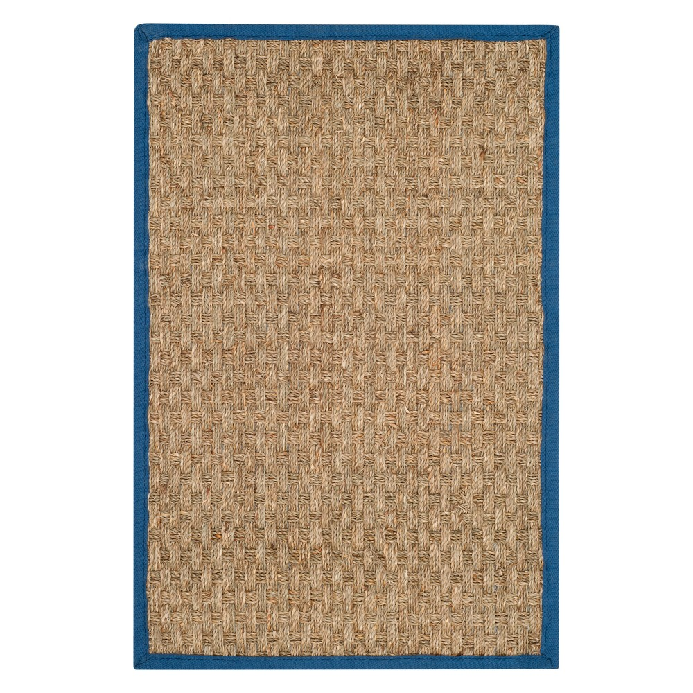 2'X3' Solid Loomed Accent Rug Natural/Navy (Natural/Blue) - Safavieh
