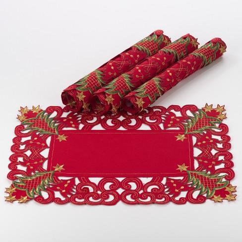 Set of 4 Nostalgic Holiday Christmas Tree Placemat Red - Saro Lifestyle - image 1 of 2