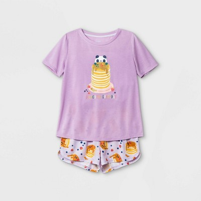 Girls' 2pc 'Panda Pancakes' Pajama Set - Cat & Jack™ Purple