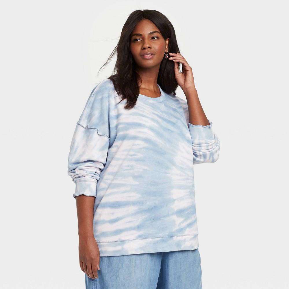 Women 39 S Plus Size Tie Dye Sweatshirt Knox Rose 8482 Blue 1x