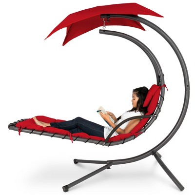 Best Choice Products Hanging Curved Chaise Lounge Chair Swing for Backyard	Patio w/ Pillow	Canopy	Stand