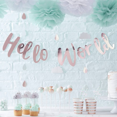 """""""Hello World"""" Bunting Party Decoration Rose Gold - image 1 of 2"""