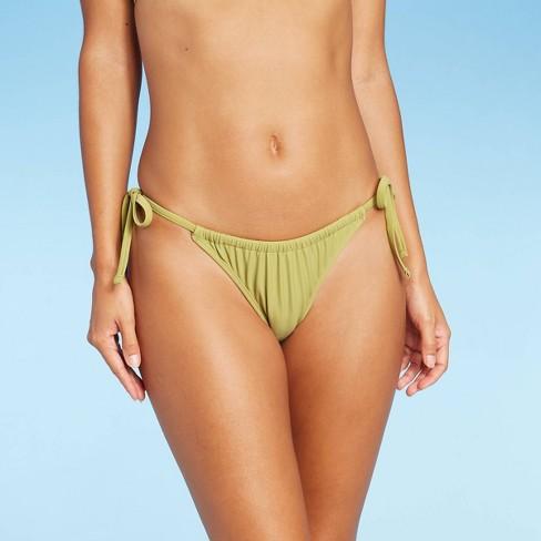 Juniors' Shirred Side-Tie High Leg Scoop Bikini Bottom - Xhilaration™  - image 1 of 4