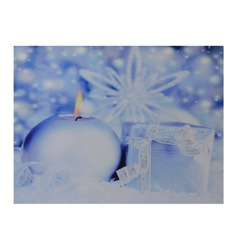 Northlight Led Lighted Candle And Gift Wintry Scene Christmas Canvas Wall Art 12 X 15 75 Target