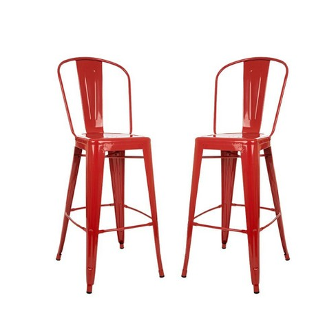 Set Of 2 Metal High Back 30 Bar Stool Red Glitzhome