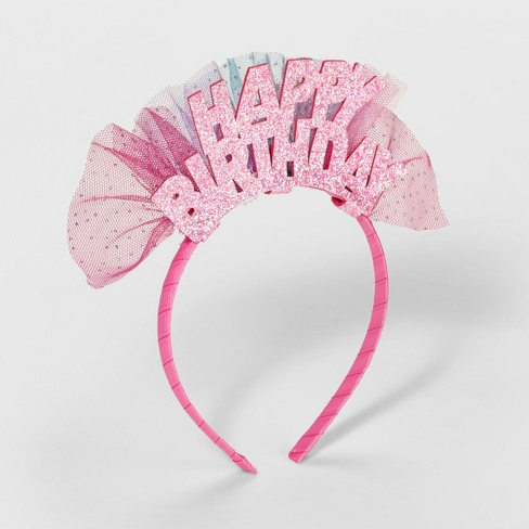 Girls' Happy Birthday Headband - Cat & Jack™ Pink - image 1 of 1