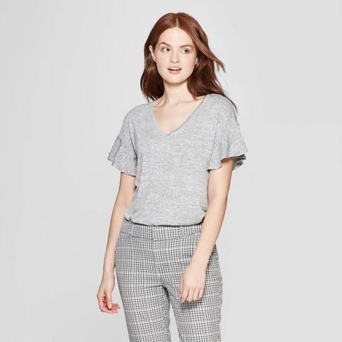 cbec0135cab Women s Short Sleeve Ruffle T-Shirt - A New Day™ Gray XXL   Target