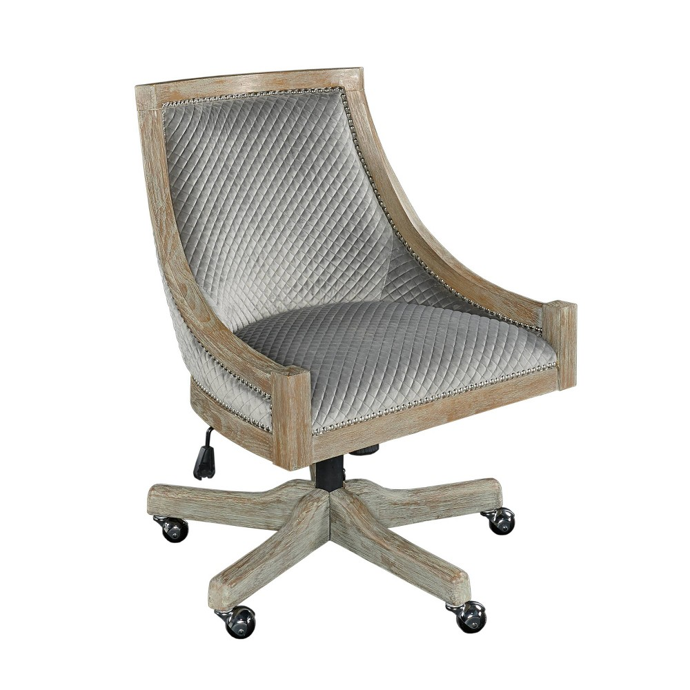 Mimi Quilted Office Chair Gray - Linon