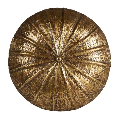 Large Round Hand Carved Baobab Wood and Copper Shield Wall Decor - Olivia & May