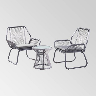 Milan 3pc Steel Chat Set - White/Gray - Christopher Knight Home