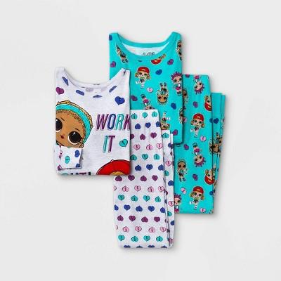 Girls' L.O.L. Surprise! 4pc Pajama Set - Gray