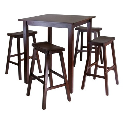 5pc Parkland Set Counter Height Dining Set with Saddle Seat Bar Stools Wood/Walnut - Winsome