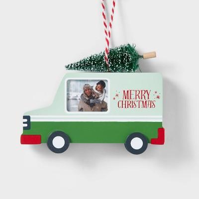 Panel Truck Photo Frame Christmas Tree Ornament Green - Wondershop™