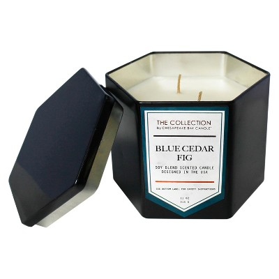 11oz Hexagon Black Tin Candle Blue Cedar Fig - The Collection By Chesapeake Bay Candle