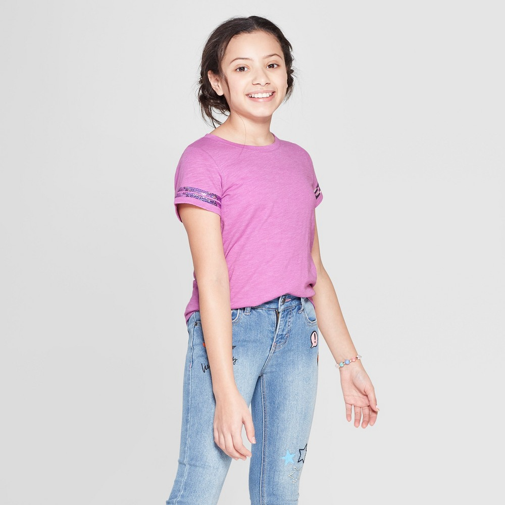 Girls' Short Sleeve Sequin Striped T-Shirt - Cat & Jack Violet M, Purple