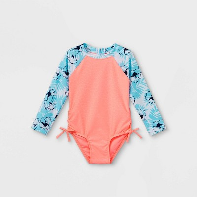 Toddler Girls' Embossed Animal Print Long Sleeve One Piece Rash Guard - Cat & Jack™ Coral