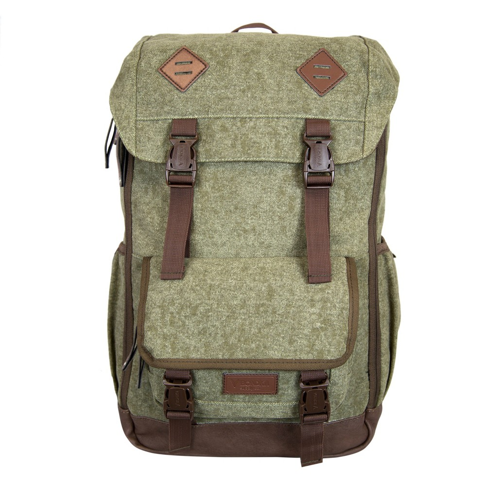 "Image of ""BONDKA 18"""" Jam Canvas Backpack - Olive Green, Size: Small"""