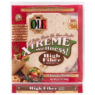 Ole Xtreme Wellness High Fiber Low Carb Tortilla Wraps - 12.7oz/8ct