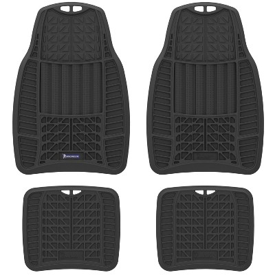 "Michelin 19""x34"" 4pc Rubber Floormat Set Black"