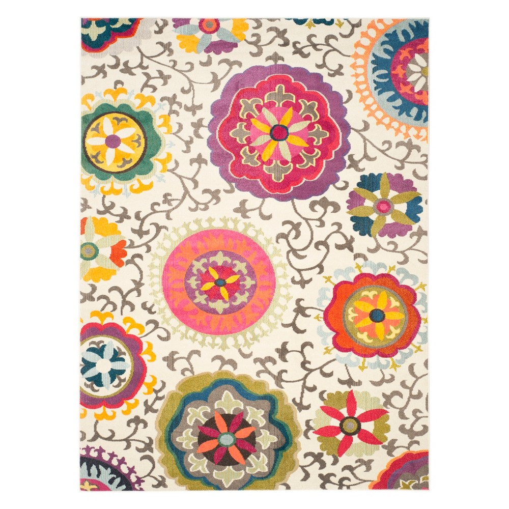 10'X14' Floral Area Rug Ivory - Safavieh, Ivory/Multi-Colored