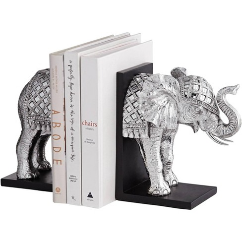 """Hand Painted Silver Elephant Book-Ends 9 1/4"""" High - image 1 of 4"""
