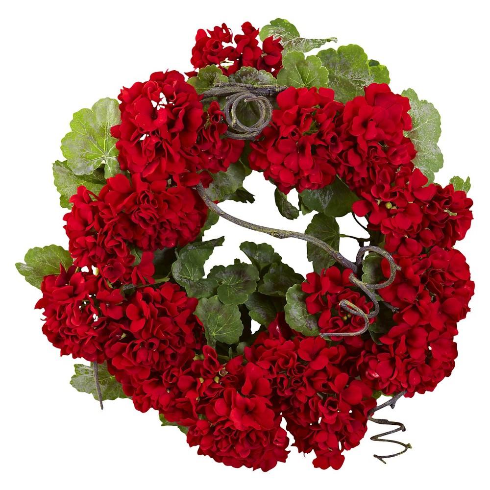 Nearly Natural 17 Geranium Wreath