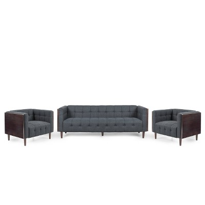 Mclarnan Contemporary Tufted 5 Seater Living Room Set - Christopher Knight Home