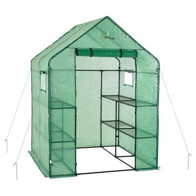 Deluxe Walk - In 2 Tier 8 Shelf Portable Lawn And Garden Greenhouse - Heavy Duty Anchors Included! - Green - Ogrow