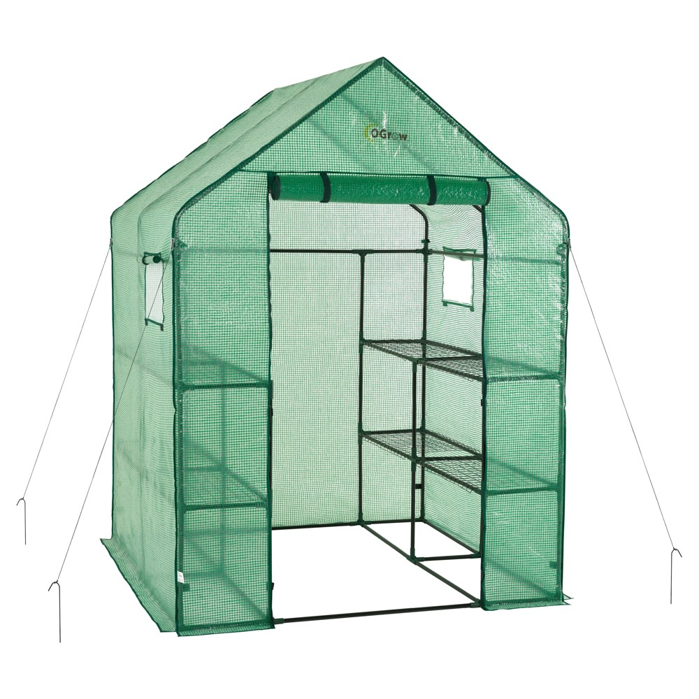 Image of Deluxe Walk - In 2 Tier 8 Shelf Portable Lawn And Garden Greenhouse - Heavy Duty Anchors Included! - Green - Ogrow
