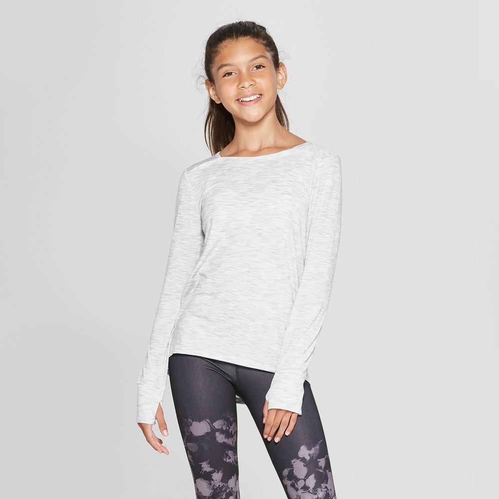 Girls' Pleated Back Long Sleeve T-Shirt - C9 Champion Light Gray M