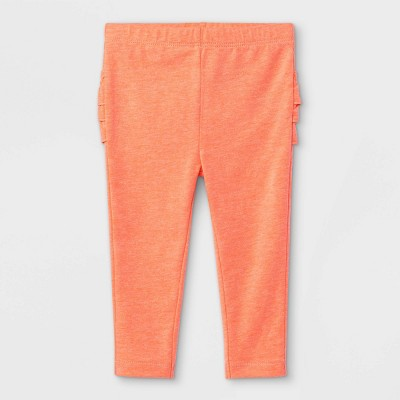 Baby Girls' Ruffle Leggings - Cat & Jack™ Moxie Peach 0-3M