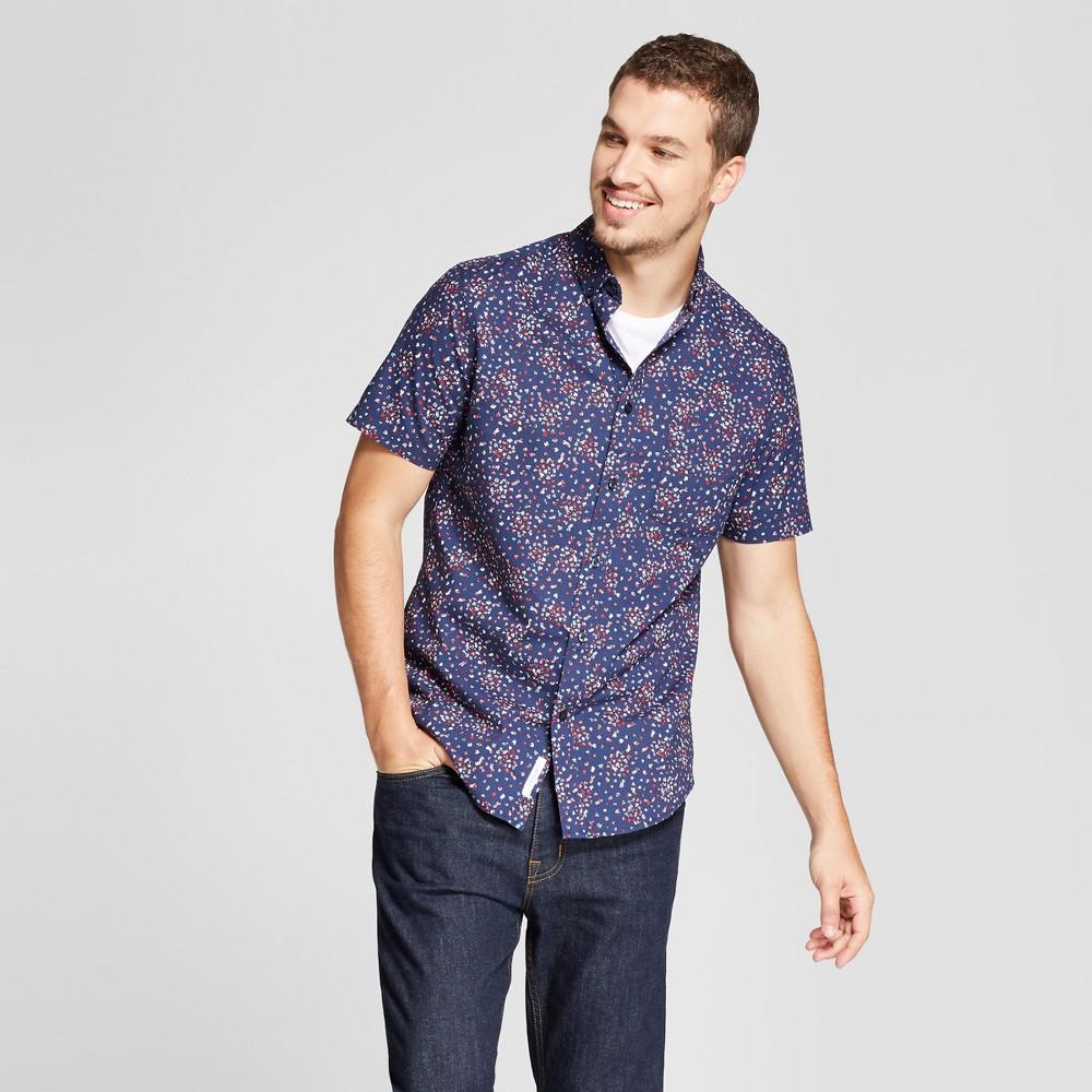 Men's Short Sleeve Soft Wash Standard Fit Button-Down Shirt - Goodfellow & Co Jamestown Blue M